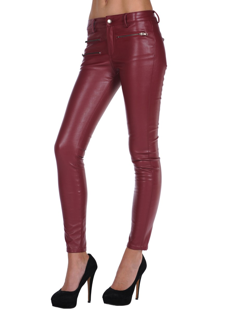 Parker Faux Leather Pants In Burgundy