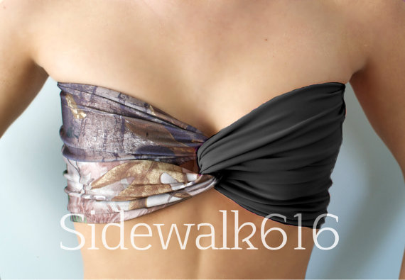Camo and Black Bandeau Top Spandex Bandeau Bikini by Sidewalk616