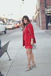 chictalk,blogger,dress,shoes,bag,jewels,red jacket,blazer,pumps,shoulder bag