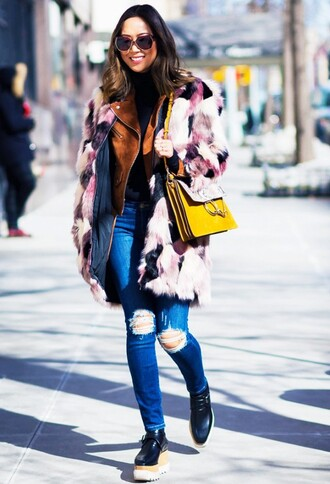bag chloe faye bag chloe bag yellow bag chloe fur coat pink coat multicolor denim jeans blue jeans ripped jeans shoes black shoes stella mccartney platform shoes jacket suede jacket song of style top blogger lifestyle blogger streetstyle big fur coat