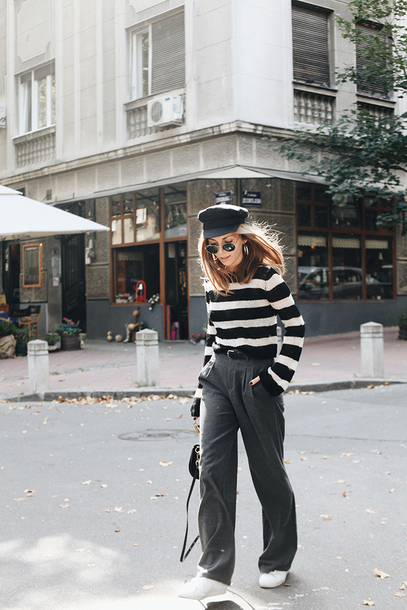 sweater tumblr stripes striped sweater pants grey pants wide-leg pants hat fisherman cap sneakers white sneakers sunglasses