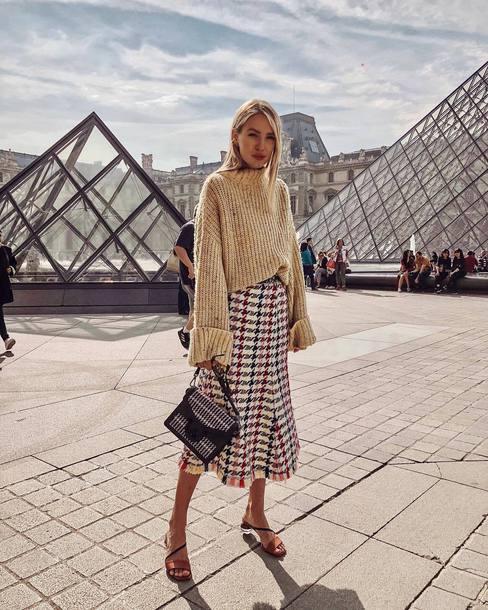 bag shoulder bag midi skirt checkered high waisted skirt sweater oversized sweater mules
