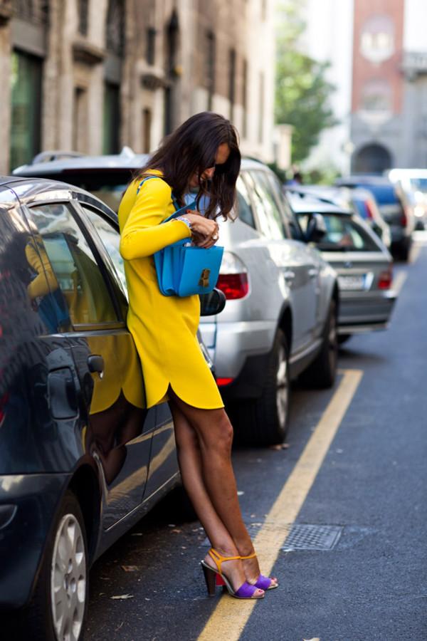 thesartorialist colorblock shoes purple shoes shoes dress bag