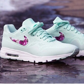 shoes nike shoes air max flowers floral sneakers nike sneakers pastel mint green trendy cute tropical fiberglass