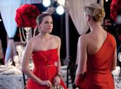 dress,revenge,red dress,strapless dress,belt,frill