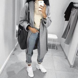 jeans grey jacket coat pants bag