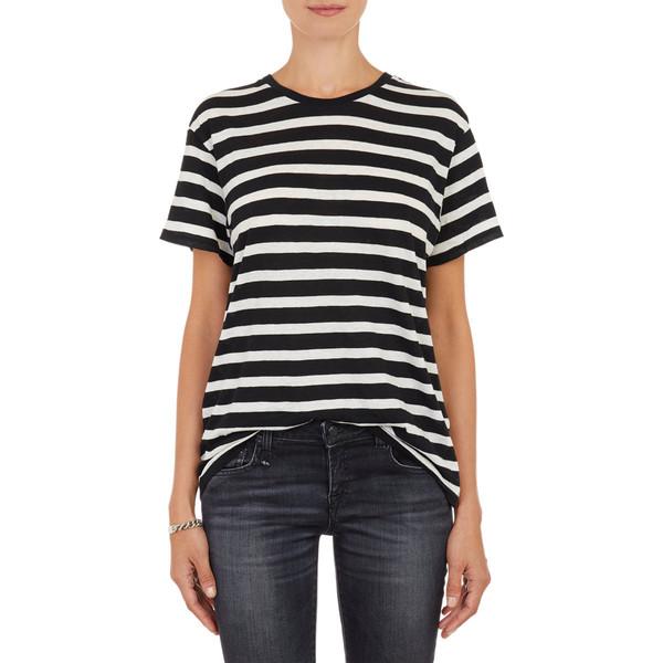 R13 Stripe-Pattern T-shirt - WHT.&BLK.