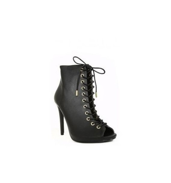 shoes peep toe lace up booties wet seal booties high heels peep toe heels lace up heels