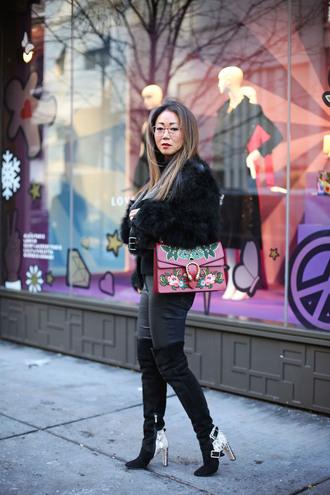 fashion-a-holic - chicago fashion blog blogger pants shoes jacket bag boots thigh high boots fur coat printed bag winter outfits black fur jacket