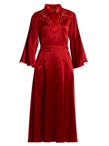 Toga dress satin dress embellished satin red