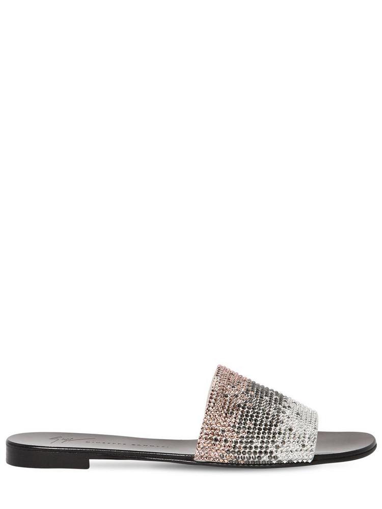 GIUSEPPE ZANOTTI DESIGN 10mm Crystal & Leather Slide Sandals in white / multi