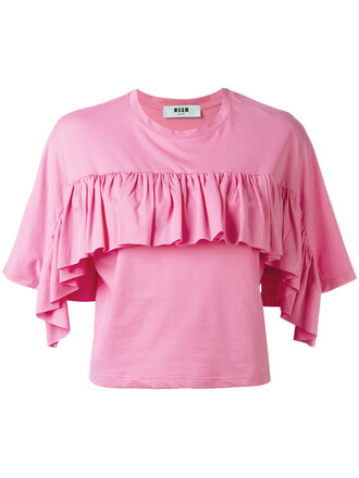 t-shirt shirt ruffle women cotton purple pink top