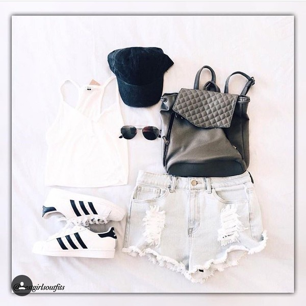 blouse sunglasses shorts shoes hat shirt white tank top backpack cap outfit