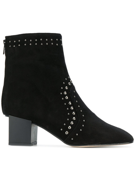 heel studded women ankle boots leather suede black shoes