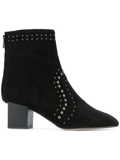 Marc Ellis heel studded women ankle boots leather suede black shoes