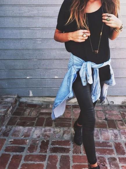 gold necklace jeans faux leather pants denim jacket black shirt black tshirt
