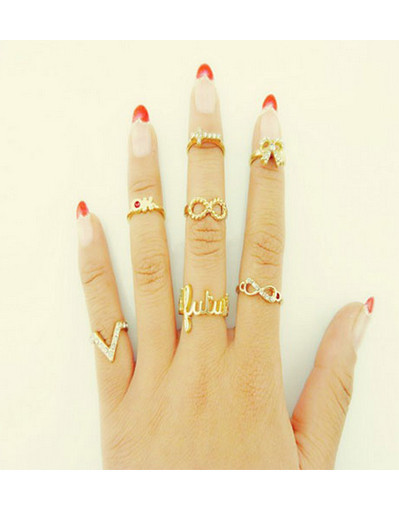 7 pcs set lot rings ok infinity v cross bow gold rhinestone finger