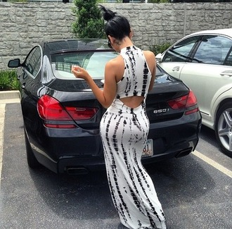 dress black white black and white aztec print something car open back back maxi maxi dress maxi skirt crop tops bustier crop top
