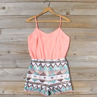 romper coral dress gliter pants