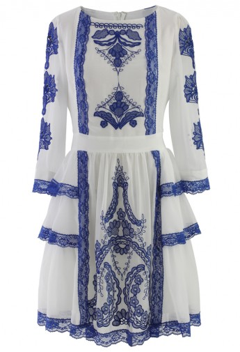 Tribal Embroidered Mid-Sleeve Chiffon Dress in Blue - Retro, Indie and Unique Fashion