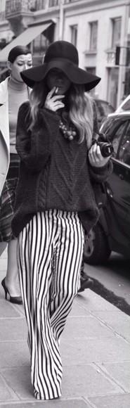 pants black and white striped pants stripes