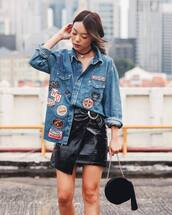 shirt,tumblr,denim shirt,patch,patched denim,blue shirt,mini skirt,black leather skirt,leather skirt,black skirt,wrap skirt,bag,black bag,round bag,tassel,choker necklace,black choker