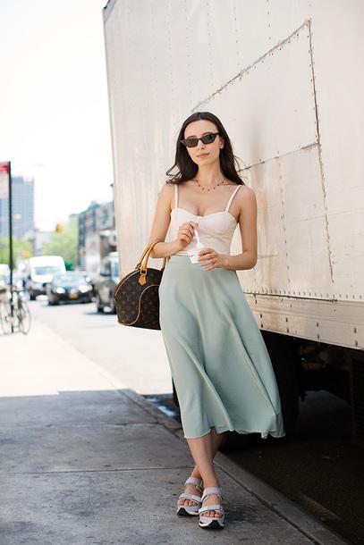 top bag shoes skirt white top sunglasses luis vuitton