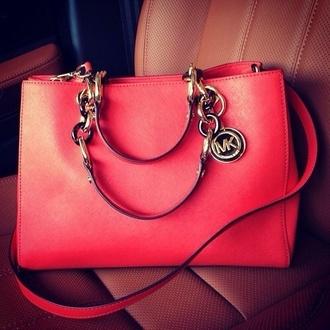 bag pink bag michael khors pink purse michael kors bag michael kors red koral fashion trendy orange cute handbag love favorites micheal kors bag