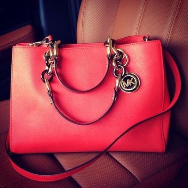 bag pink bag michael khors pink purse michael kors bag michael kors red  koral fashion trendy 6c36b8f9f
