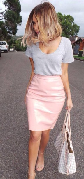 skirt classy nude leather skirt pink skirt pencil skirt