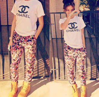 pants floral chanel t-shirt shoes shirt barbara palvin blouse flowers boots white shirt chanel top long pants ootd timberlands jeans floral pattern pants