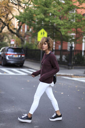 trop rouge,blogger,jeans,creepers,burgundy,knitted sweater,white