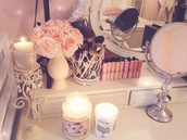 home accessory,candle stand,candle,dressing table,flowers
