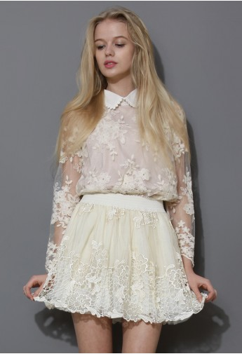 Scrolled Collar Floral Crochet Top  - Retro, Indie and Unique Fashion