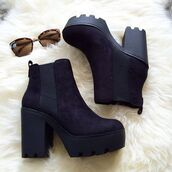 shoes,belle xo,boots,booties,heel,wedges,black,thick heel,straps,suede,velvet,fall outfits,winter outfits,spring,summer,ankle boots,fashion,style,cute