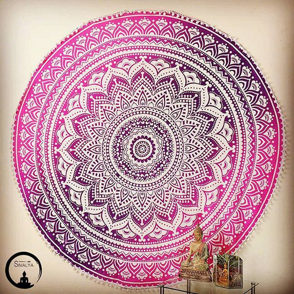home accessory tapestry home decor round mandala bohemian boho pink tapestry home decor beach mandala loving sivalya