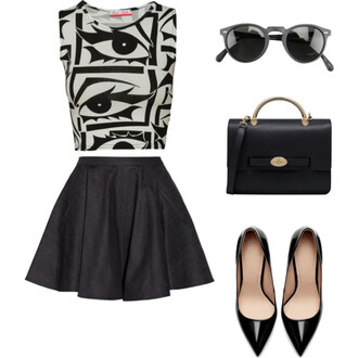 my daily style shoes bag sunglasses tank top black skirt