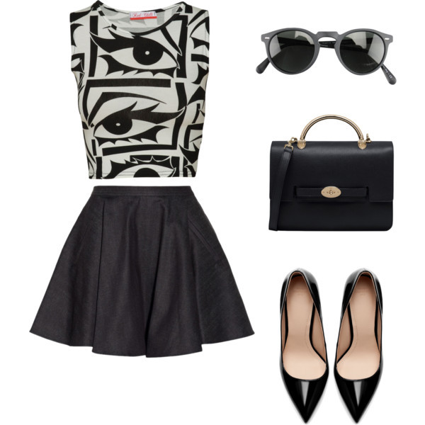 tank top black skirt sunglasess my daily style bag shoes sunglasses