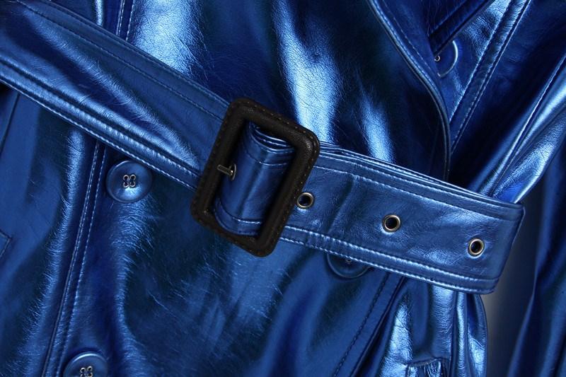 Blue Long Sleeve Epaulet Belt Slim Trench Coat - Sheinside.com