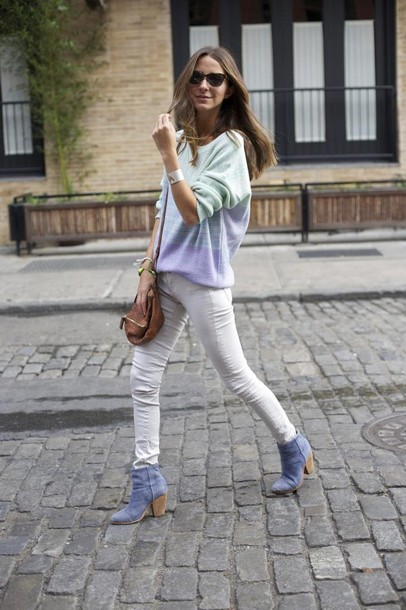 something navy sweater jeans shoes jewels bag sunglasses