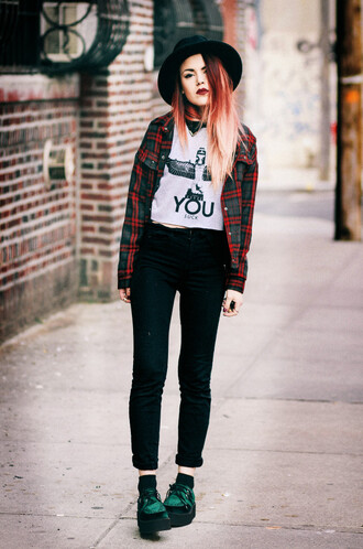 le happy sweater pants jacket shoes hat shirt blogger fashion ootd you top vintage sunglasses crop tops t-shirt clothes cute grunge flannel suck you suck hipster red hair jeans plaid red boy london indie black luanna perez alternative ombre hair boho style pattern street rayban perfect sheinside