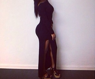 dress black open leg long summer outfits outfit tumblr hot sexy kardashians beautiful beach clothes party outfits weheartit romantic girly prom sweet 16 home coming birthday
