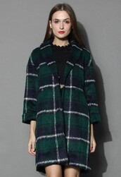 chicwish,green plaid coat,wool-blend coat