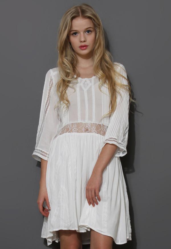 dress mid-sleeve boho