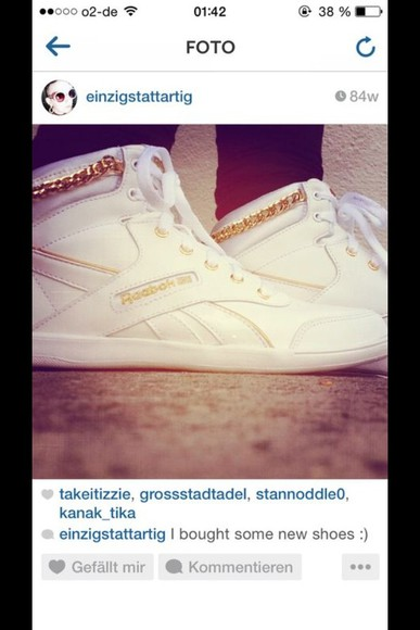 shoes Reebok grill, golden, vampire, teeth, bling, yonce, jourdan dunn gold chains white trainers