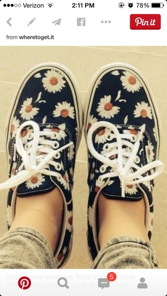 shoes navy blue and white vans sneakers floral shoes