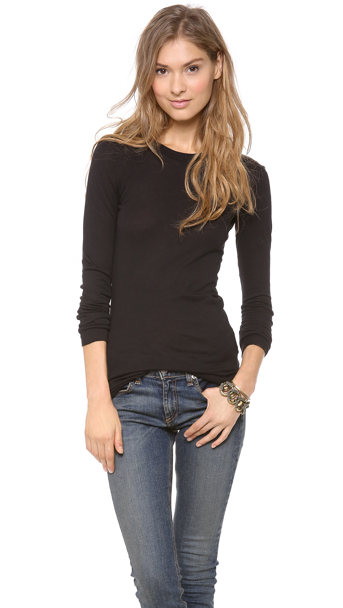 Enza Costa Bold Long Sleeve Crew Tee | SHOPBOP