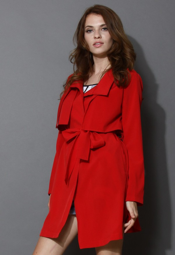 chicwish belted trench coat coat