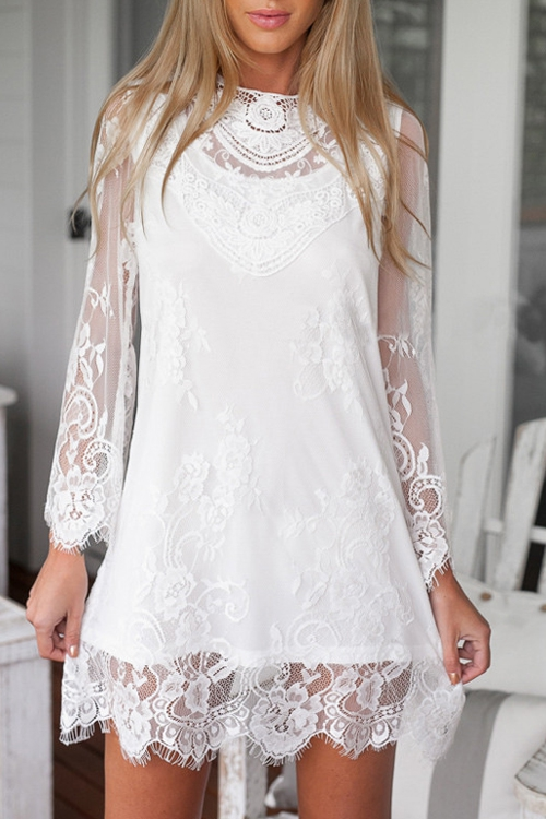 See-Through Embroidered Lace Dress