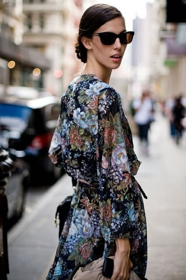 blouse blue kimono floral top haute couture cardigan jacket pretty silk clothes